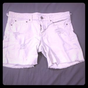 White Distressed American Eagle shorts